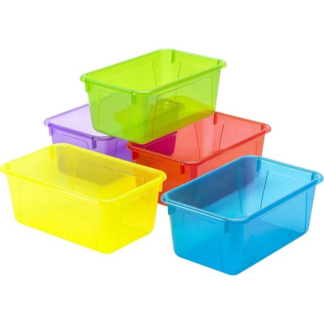 Plastic Cubby Bins Assorted Translucent 5 Pack