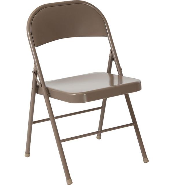 Double Braced Beige Metal Folding Chairs BD-F002-BGE-GG