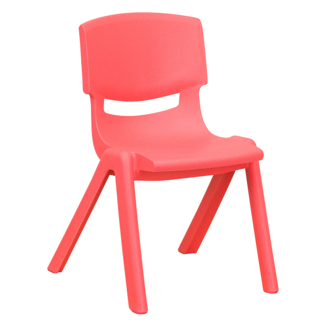 red PLASTIC STACKABLE SCHOOL CHAIR WITH 10.5'' SEAT HEIGHT